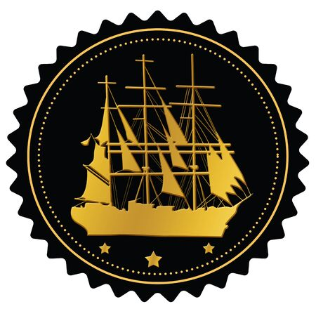 Label with gold sailing ship on white background Stock Vector - 15830020