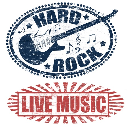 music listening: Two stamps with live music and hard rock written inside, vector illustration