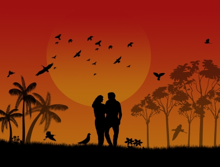 Lovers in a city park with birds and trees on sunset Vector