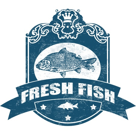 marine fish: Grunge rubber stamp with fish shape and the word fresh fish written inside Illustration
