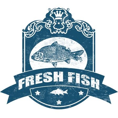 vis: Grunge rubber stempel met vis vorm en het woord verse vis geschreven in