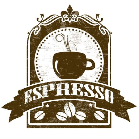Grunge stamp with coffee cup, beans and the text espresso written inside Vector