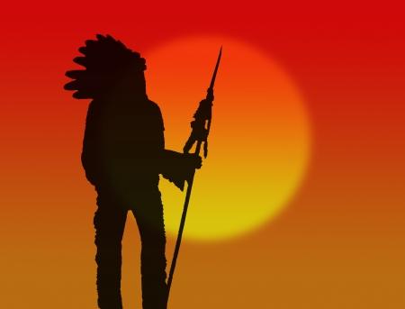 indio americano: Jefe nativo americano en el fondo hermosa puesta de sol