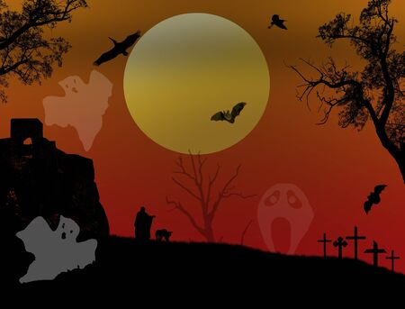 scarry: Scary halloween background with ghosts on scarry place