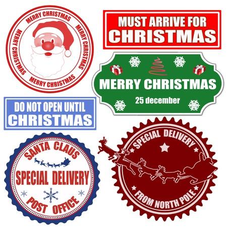 Set di francobolli di Natale e le etichette su sfondo bianco