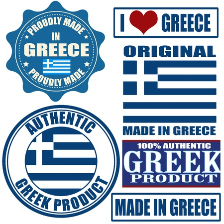 office product: Set of stamps and labels with the text made in Greece written inside Illustration