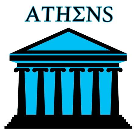 templo griego: Atenas Partenón icono símbolo con la construcción en el fondo blanco