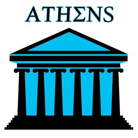 monument: Athens symbol with Parthenon icon building on white background