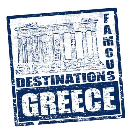 Grunge rubber stamp with Parthenon shape and the word Greece inside Vector