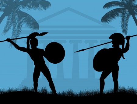 ancient civilization: Two ancient greek wariors fighting