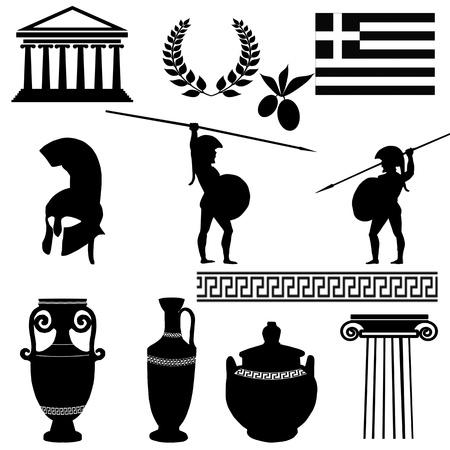 antigua grecia: Símbolos tradicionales de Grecia en el fondo blanco