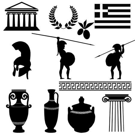 Traditional symbols of Greece on white background Vector