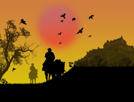 prairie: Two cowboys silhouette against a sunset background illustration