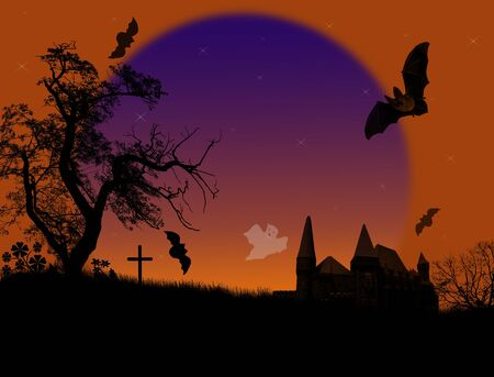 Scary halloween background with ghosts and bats on scarry place Vector