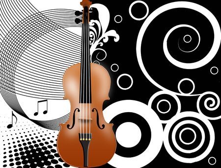Abstract background in black and white with a violin, vector illustration Vector