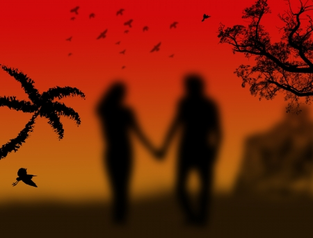 froggy: Lovers in a park with birds and trees on froggy sunset