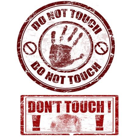 förbjuda: Grunge stämplar med handavtryck med inte röra - inte röra, vektor illustration