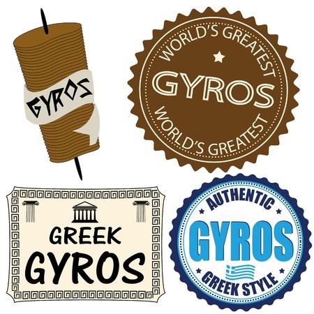greek food: Set of gyros labels and elements on white, vector illustration