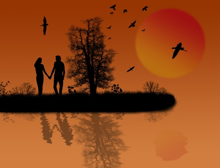 Beautiful sunset background with two lovers and  reflection background illustration Vector