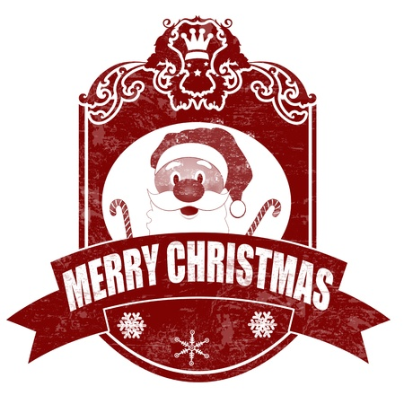 postage: Christmas elegant vintage stamp with santa on white background, vector illustration