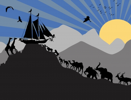 Noahs Ark and each pair of creatures backgound, vector illustration Illustration