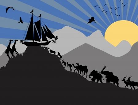 ark: Noahs Ark and each pair of creatures backgound, vector illustration Illustration