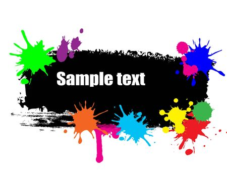 ink stain: Black banner with the paint brush and colored blots, vector illustration
