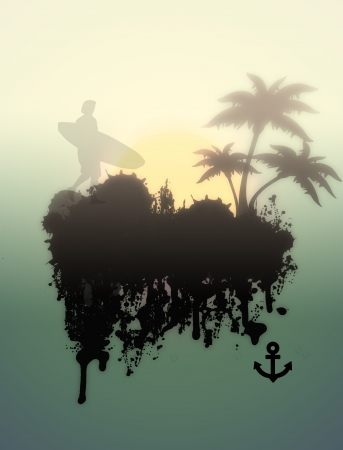 Surfer on foggy tropical place grunge background Vector