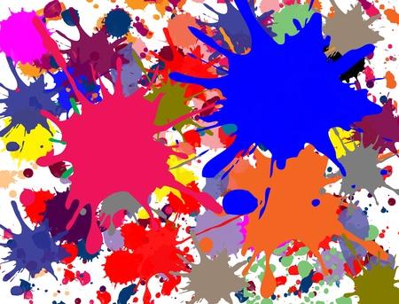 splashed: Multi-colored splashed on white background, vector illustration