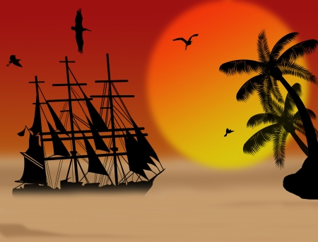 retro sunrise: Vintage sailboat sailing at sunset on tropical seascape, background illustration