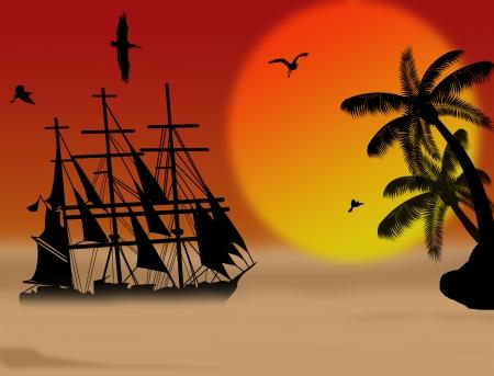 Vintage sailboat sailing at sunset on tropical seascape, background illustration Stock Vector - 16101649