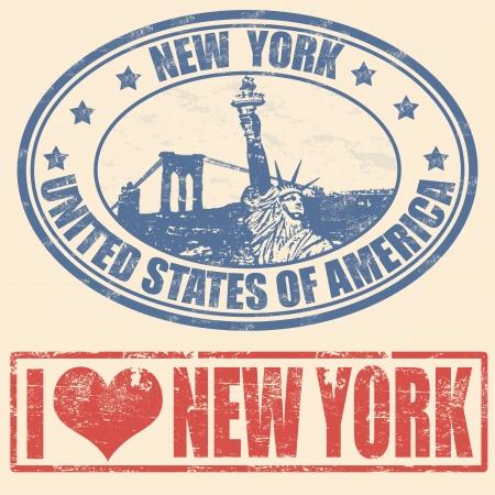 timbre voyage: Jeu de timbres en caoutchouc grunge avec New York
