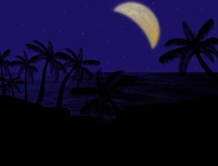 Palm forest silhouettes on blue sky and moon, background illustration Vector