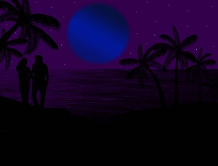 Couple in a tropical seascape on beautiful blue night, background illustration Stock Vector - 16101644