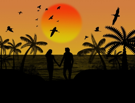 happiness people silhouette on the sunset: Silhouette of a lovers couple under palm trees at sunset, background illustration