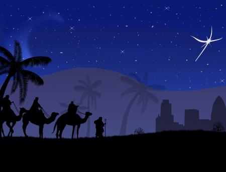 reyes magos: Classic tres mágica escena y brillante estrella de Belén