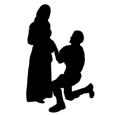 declaration: A man on his knees, makes a proposal to marry the girl , black silhouette on white background, vector illustration