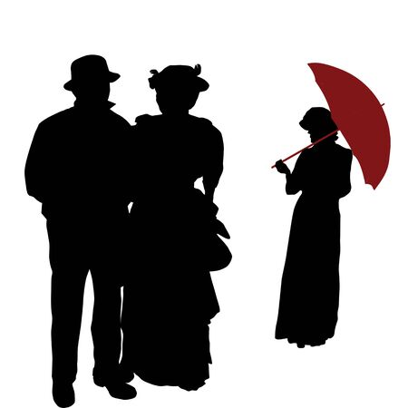 Vintage people silhouettes on white background, vector illustration Vector