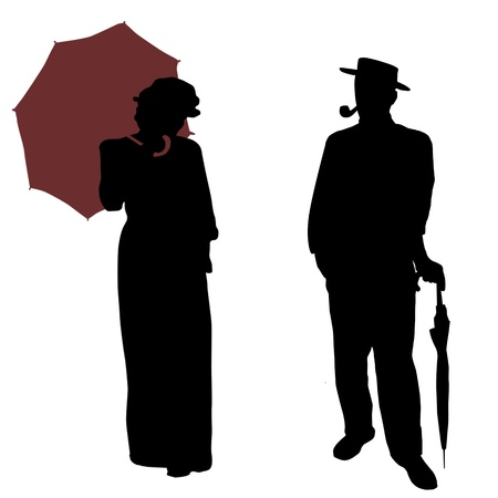 victorian lady: Vintage people silhouettes on white background, vector illustration