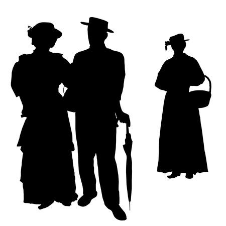black lady talking: Siluetas de la gente del vintage en ilustraci�n vectorial de fondo blanco,