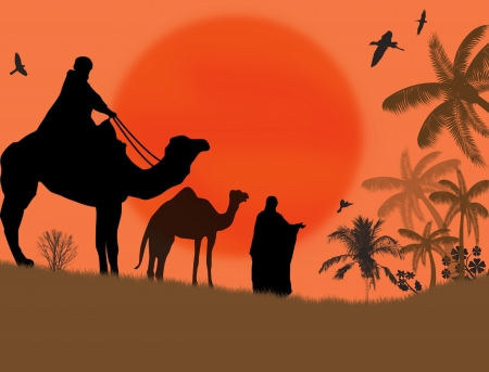 Bedouin camel caravan in wild africa landscape, vector illustration Vector