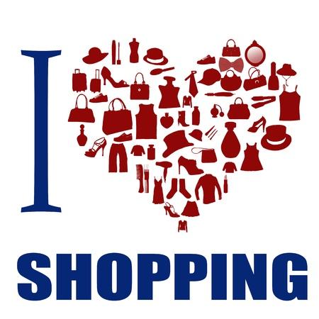 fashion shopping: Me encanta fondo de compras. El coraz�n est� hecho de diferentes art�culos de moda, ilustraci�n vectorial
