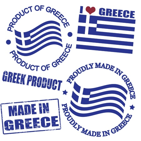 greece flag: Set of stamps and labels with the text made in Greece written inside Illustration