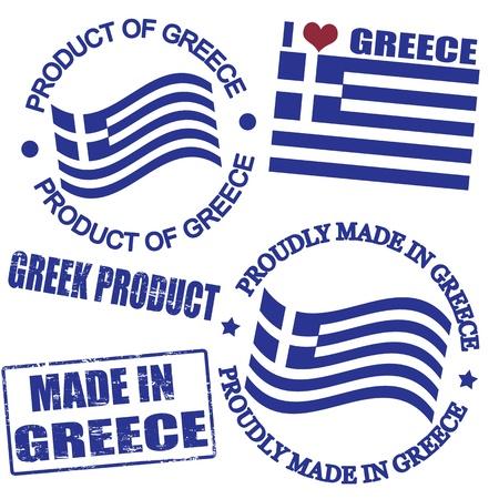 Set von Briefmarken und Etiketten mit dem Text in Griechenland geschrieben innen aus