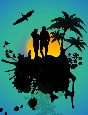 Lovers in a tropical landscape with palms on abstract background. vector illustration Vector
