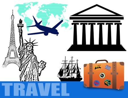 overnight: Astratto sfondo colorato con la mappa del mondo, la Statua della Libert�, la Torre Eiffel, il Partenone, un aereo, una nave e un concetto di viaggio valigia