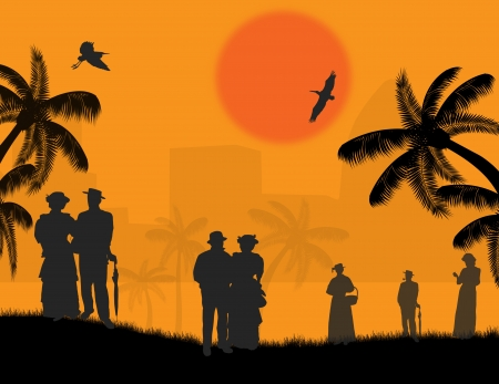 Vector design background with beautiful landscape and people silhouette at sunset Stock Vector - 16383727