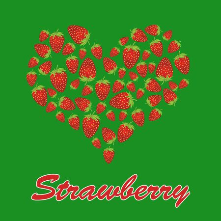 grown with love: Strawberry heart on green, love strawberry concept, vector illustration Illustration