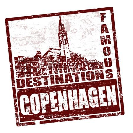 copenhagen: Grunge rubber stamp with the word Copenhagen written inside, vector illustration