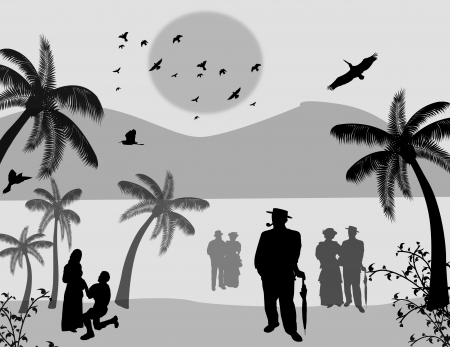 Vector design background with beautiful landscape and people silhouette on black and white Vector